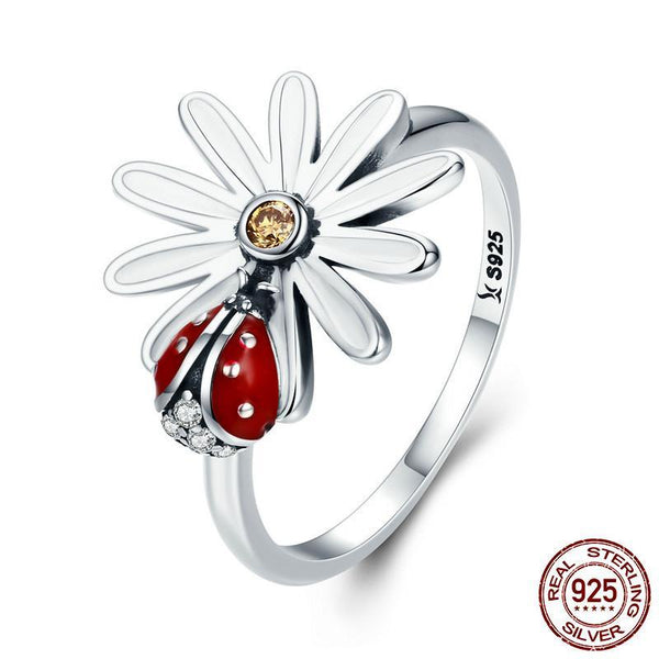 Sterling Silver Flower and Ladybug Rings