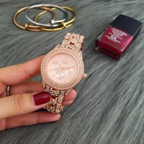 Rhinestone Ladies Watch / Rose Gold