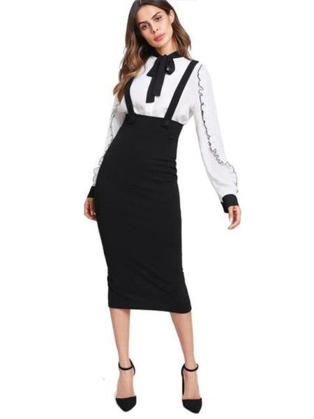 Sheila High Waist Slit Back Pencil Skirt