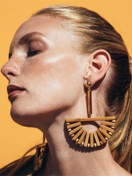 Long Geometric Wooden Earrings