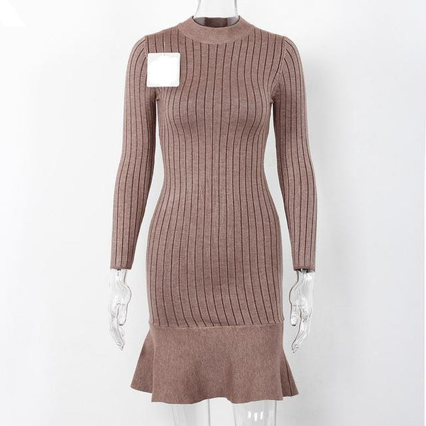 Jenny Ruffle Sweater Dress