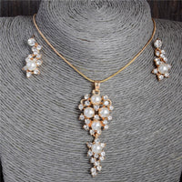 Pearl Crystal Necklace Earrings Sets