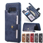 Leather Phone Case Wallet  for Samsung Galaxy Magnetic Button Clasp