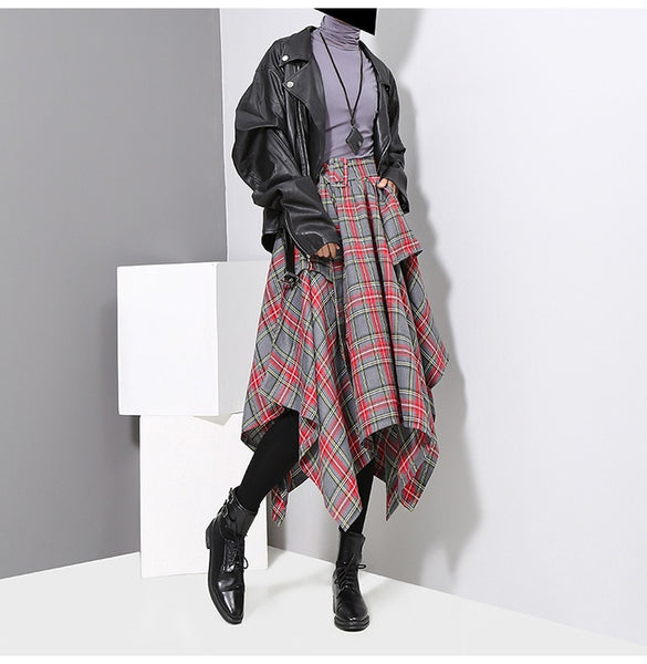 Samantha High Waist Plaid Skirt / Grey