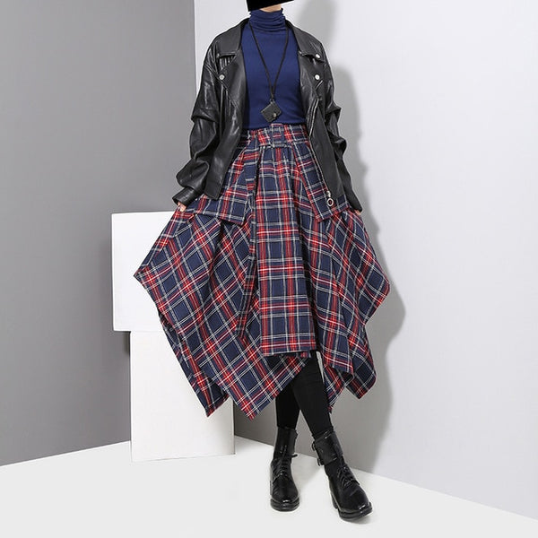 Samantha High Waist Plaid Skirt / Blue