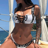 two-piece suits lace up swimsuit