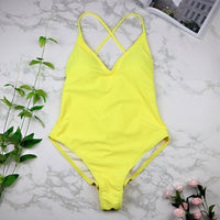 Sexy high cut one piece swimsuit / yellow