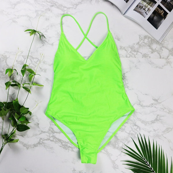 Sexy high cut one piece swimsuit/ Lime