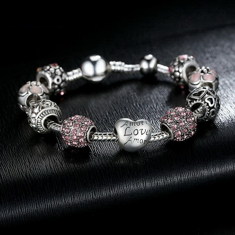 Antique 925 Silver Plated Love and Flower Crystal Ball Bracelet Special