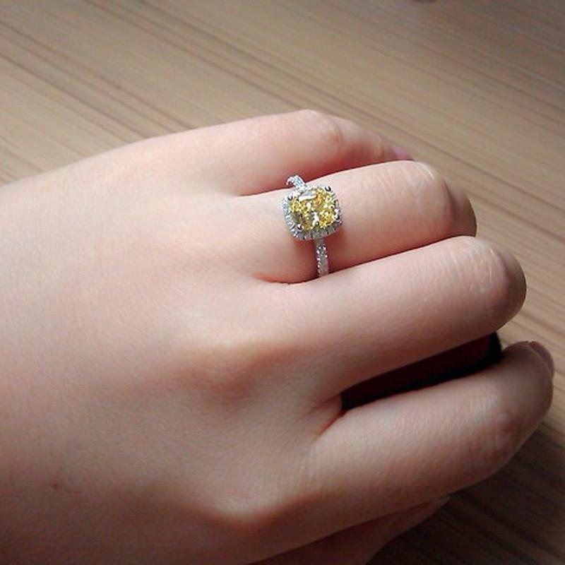 Elegant Yellow Cubic Zirconia Cocktail Ring Special