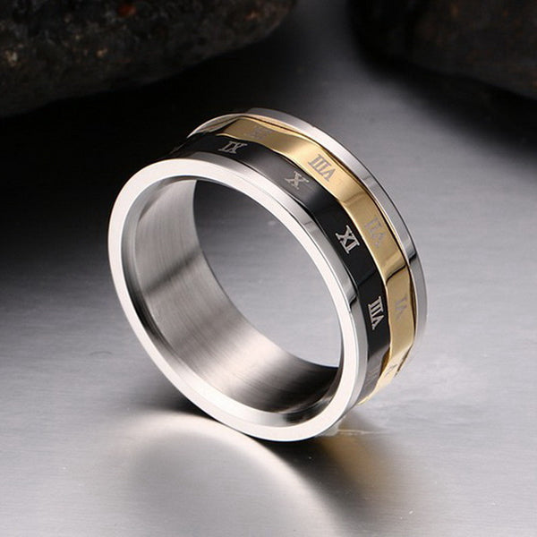 Lucky Roman Numerals Rotatable Ring