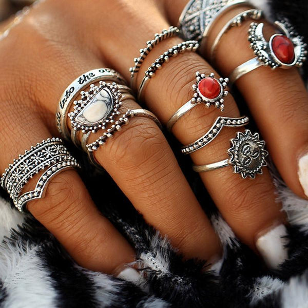 14pcs Moon And Sun Midi Female Ring Set