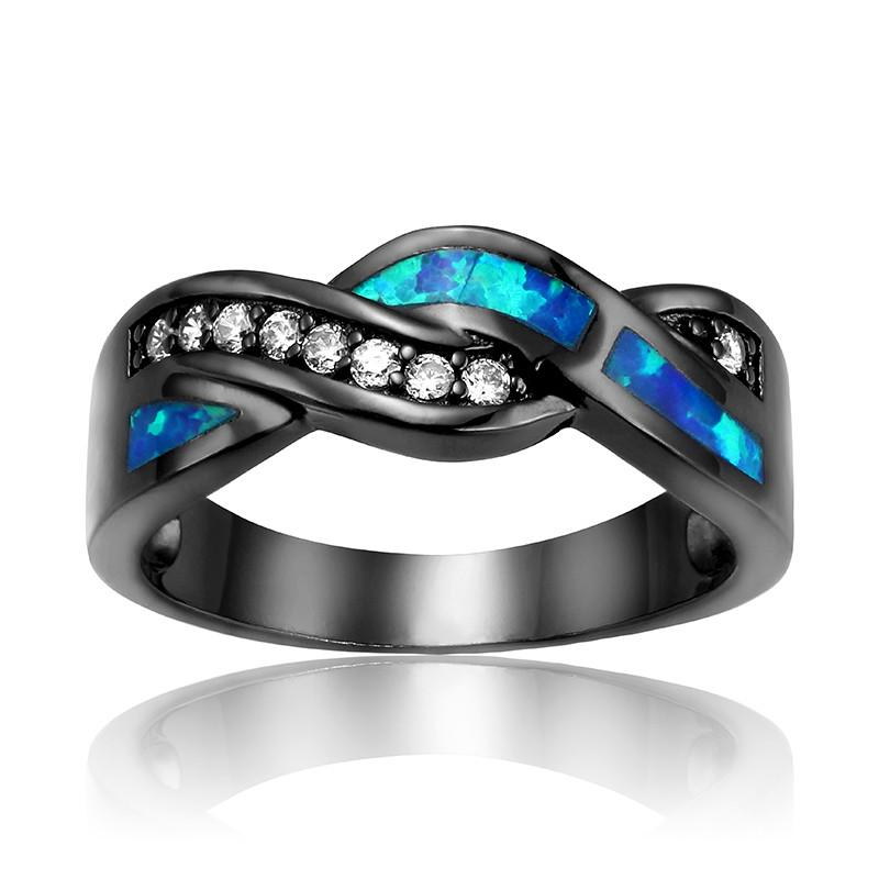 Black Gun Plated Wave Blue Opal Ring