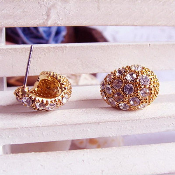 Full Crystal Crescent Stud Earrings
