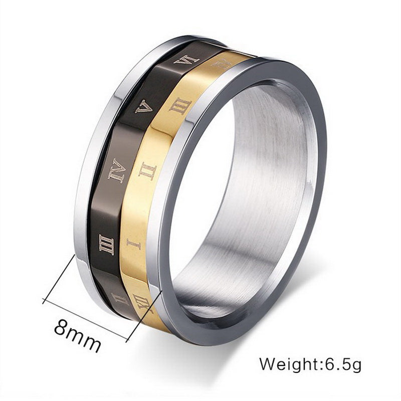 Lucky Roman Numerals Rotatable Ring Special