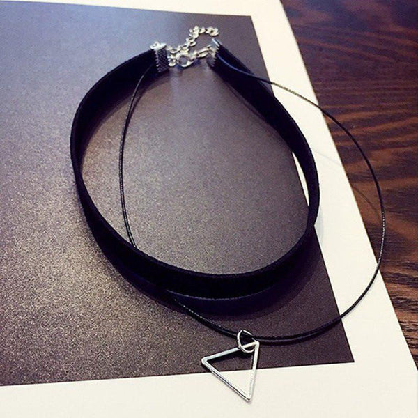 Multilayer Triangle Rope Chain Choker Necklace