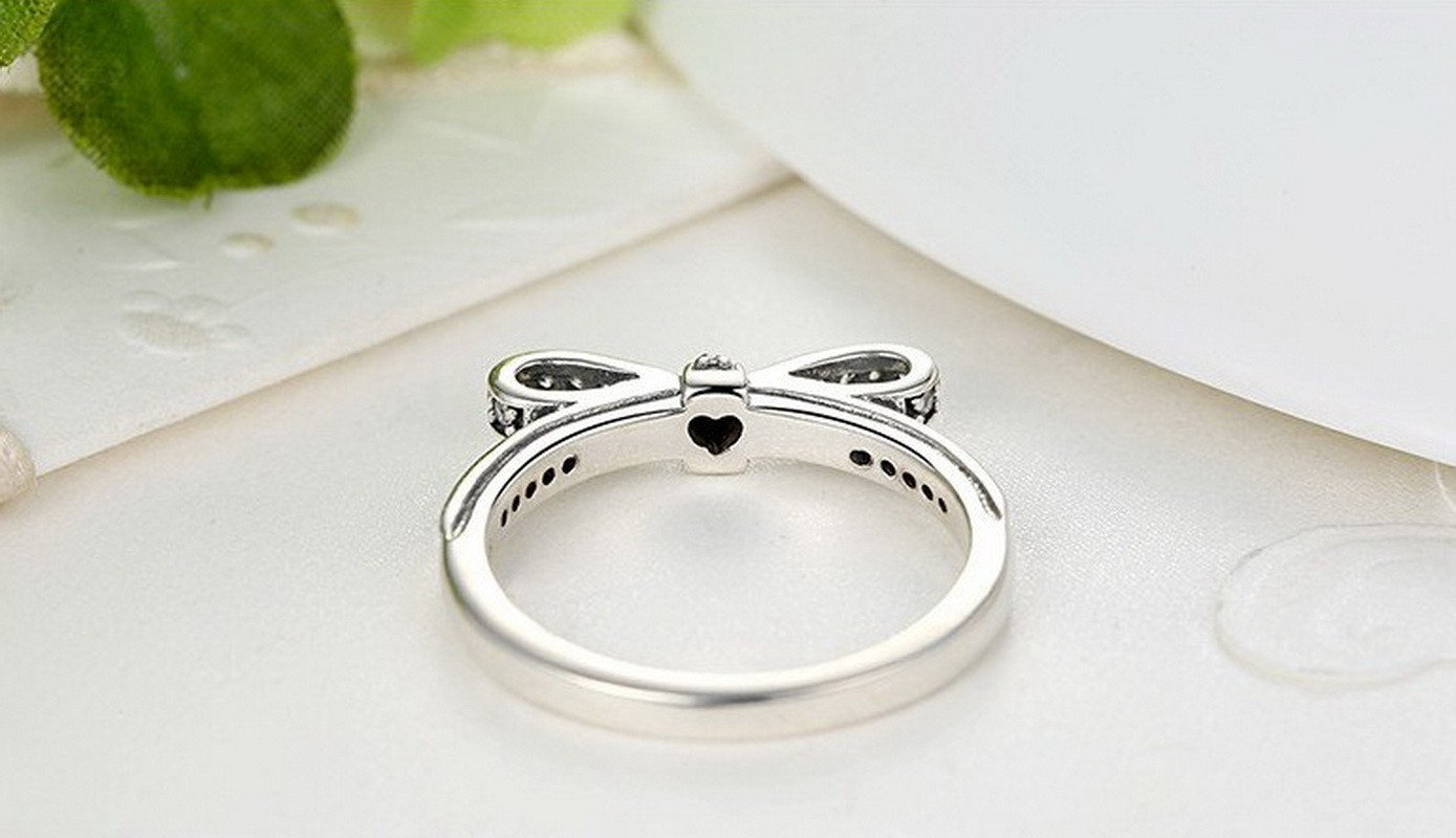 Authentic 925 Sterling Silver Sparkling Bow Knot Stackable Ring