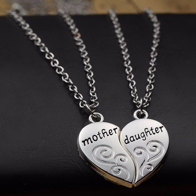 Loving Mother Daughter Heart Necklace Set
