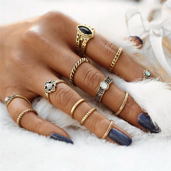 12 Piece Antique Gold Color Boho Style Ring Set