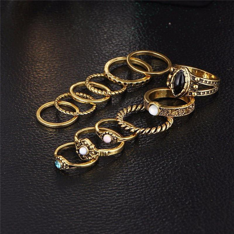 12 Piece Antique Gold Color Boho Style Ring Set Special
