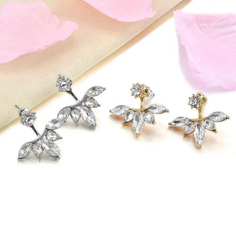 Crystal Leaf Stud Earrings