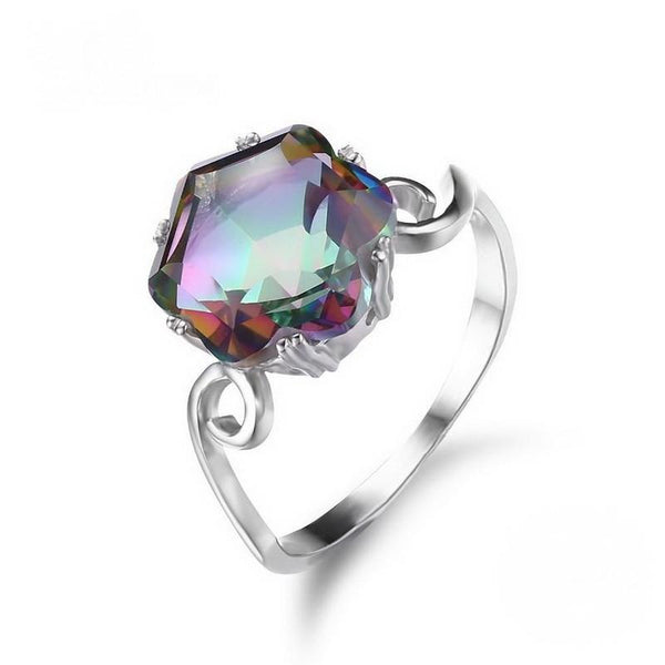 3.2ct Genuine Rainbow Fire Mystic Topaz Ring