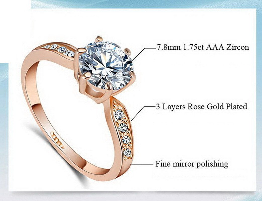 1.75ct AAA Cubic Zirconia Diamond Rose Gold Plated Ring