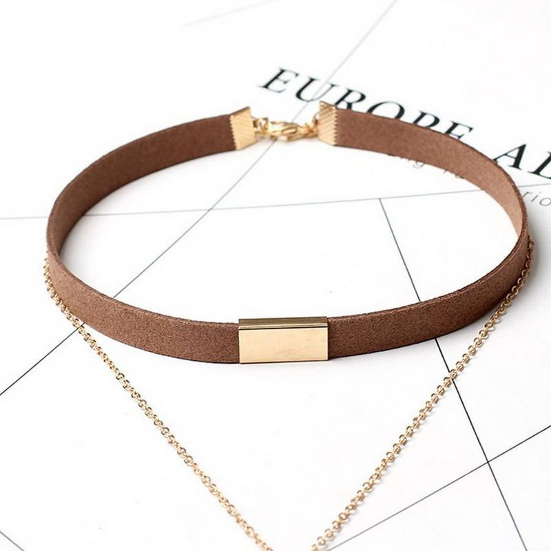 Suede Choker Chain Bar Necklace