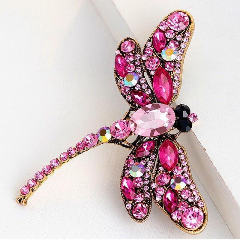 Crystal Rhinestone Dragonfly Brooches