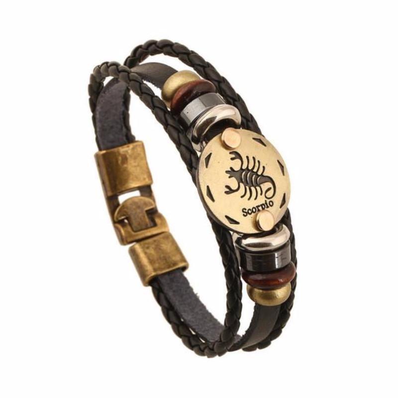 Zodiac Signs Black Gallstone Leather Bracelet Special