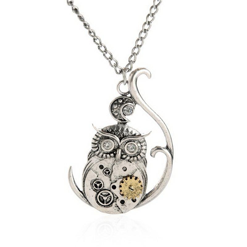 Steampunk Owl Gear Pendant Necklace Special