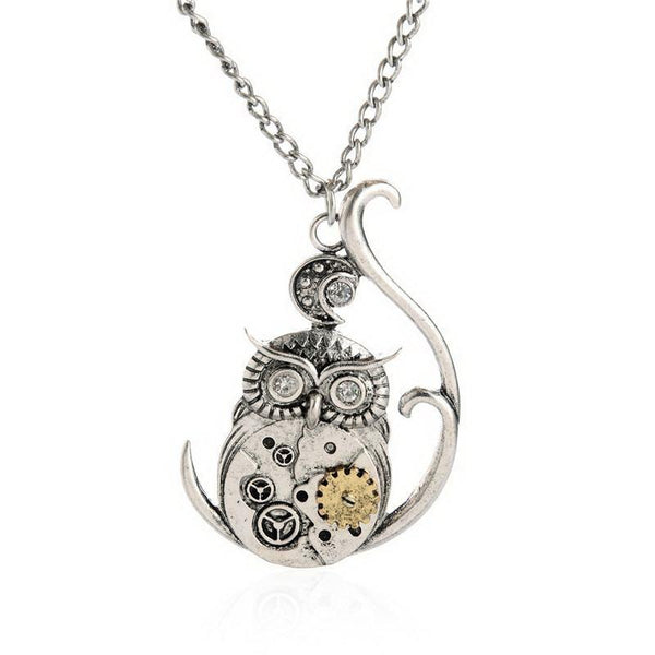 Steampunk Owl Gear Pendant Necklace
