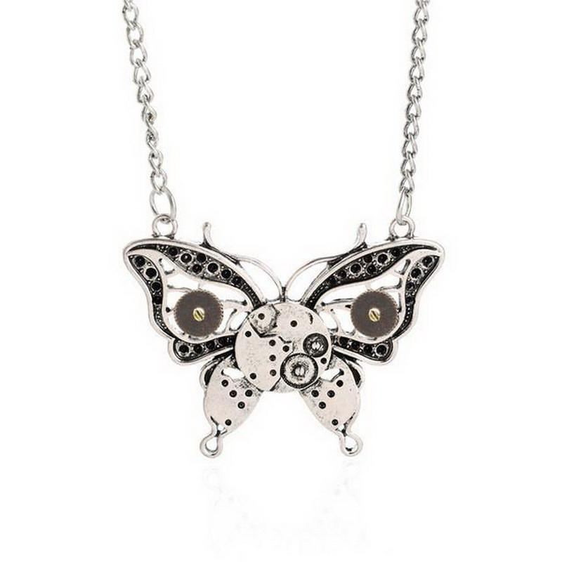 Steampunk Butterfly Gear Pendant Necklace Special