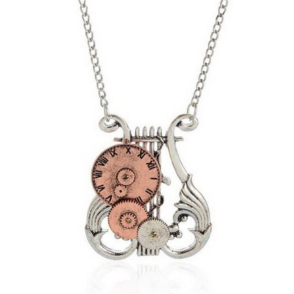 Steampunk Harp Gear Pendant Necklace