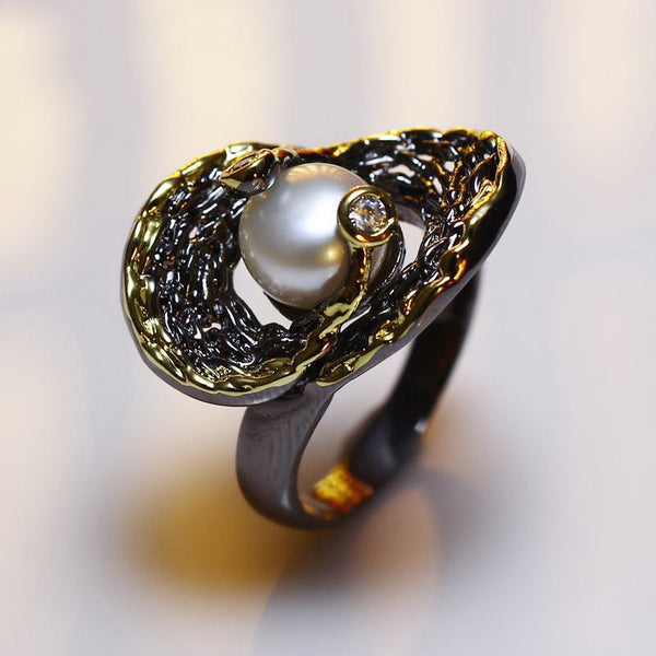 Vintage Pick Pearl Cocktail Ring