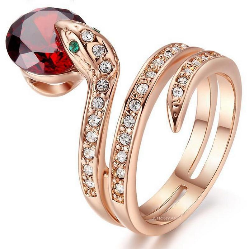 Snake Bead Austrian Crystal Ring