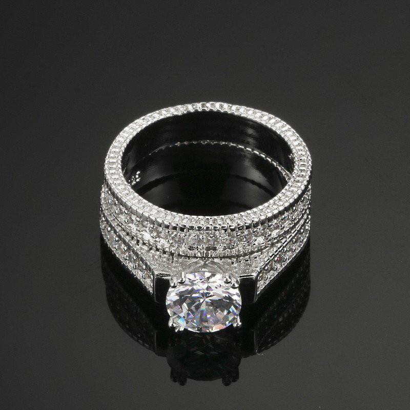 Brilliant Cubic Zirconia Wedding Ring Set Special