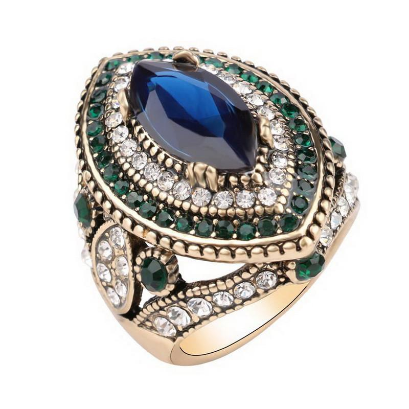 Blue Crystal Mosaic Ring Special