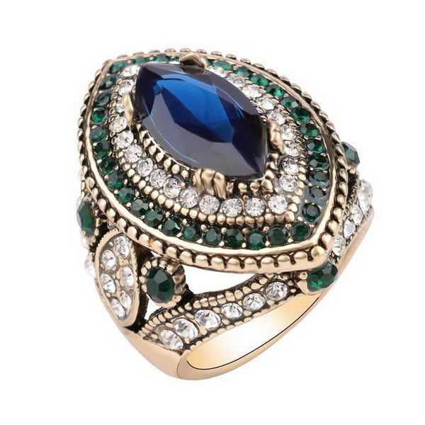 Blue Crystal Mosaic Ring