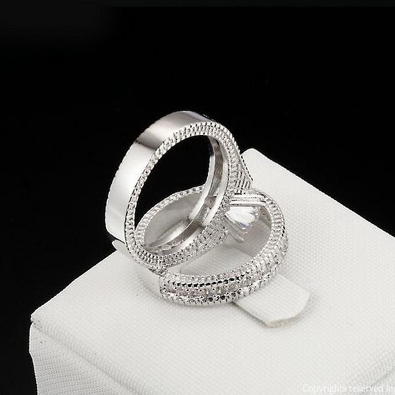 Brilliant Cubic Zirconia Wedding Ring Set