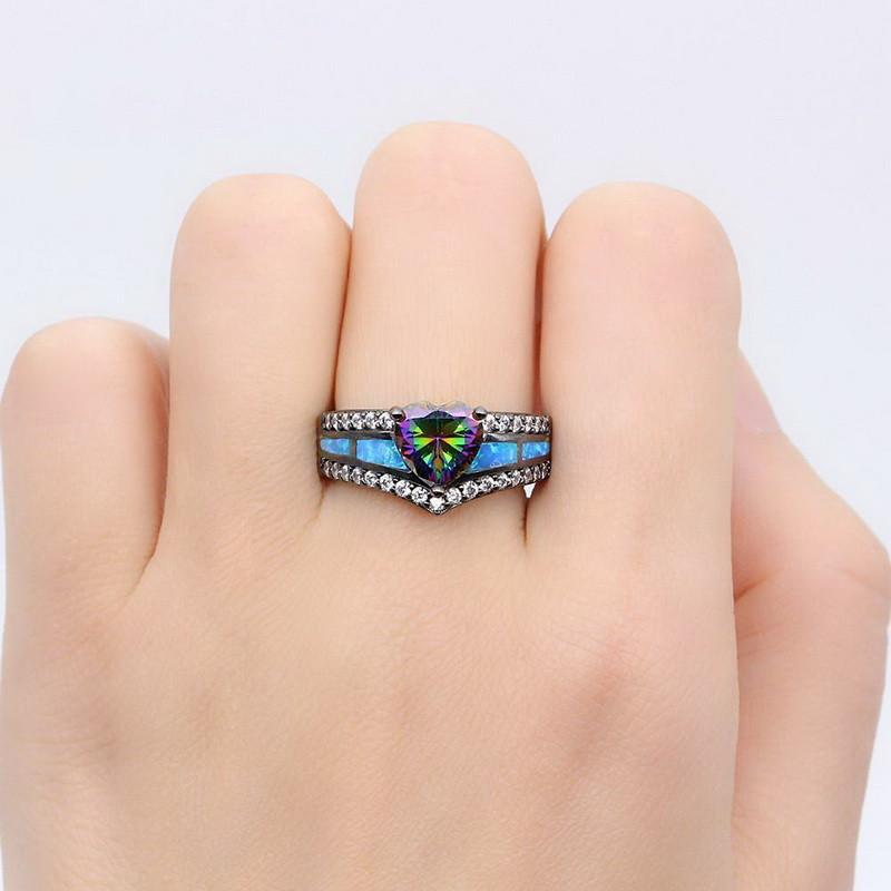 Black Gun Plated Rainbow Opal Heart Ring Special