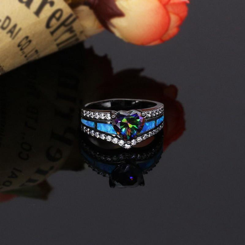 Black Gun Plated Rainbow Opal Heart Ring