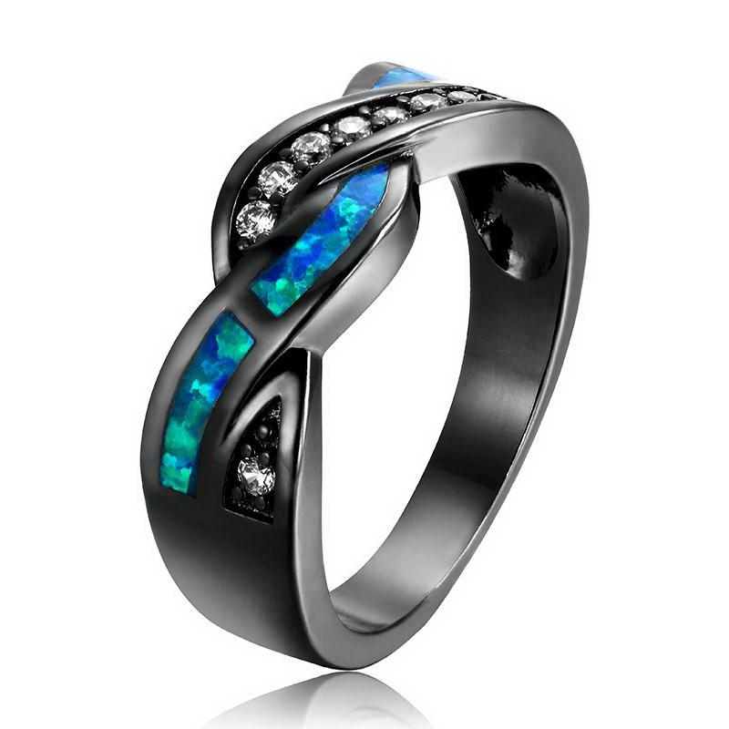 Black Gun Plated Wave Blue Opal Ring Special