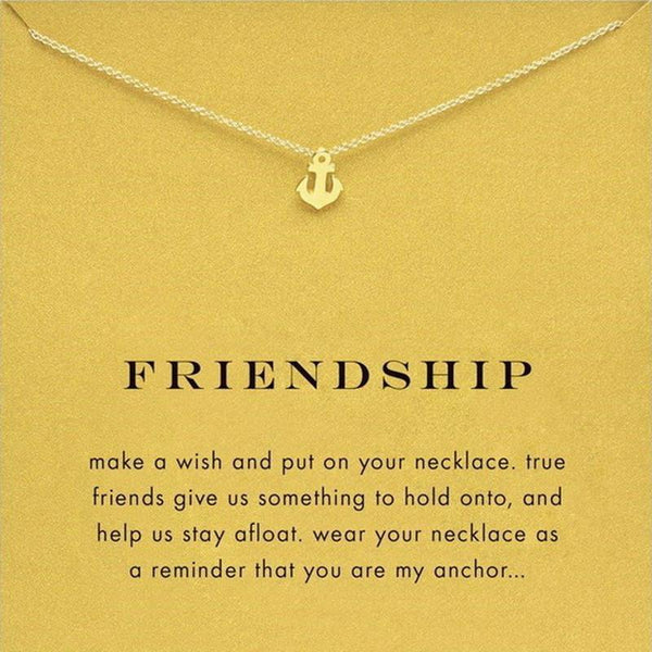Friendship Anchor Pendant Necklace