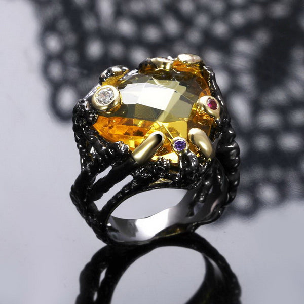 Big Champagne Crystal Cocktail Ring