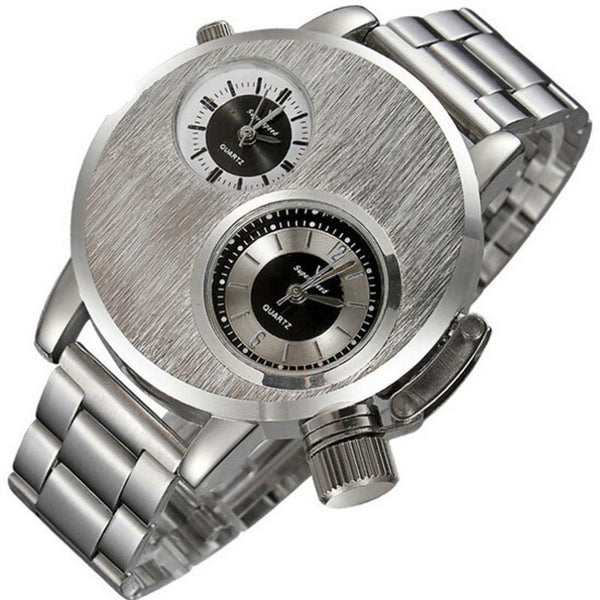 Dual Time Zone Dial Silver Steel Watch