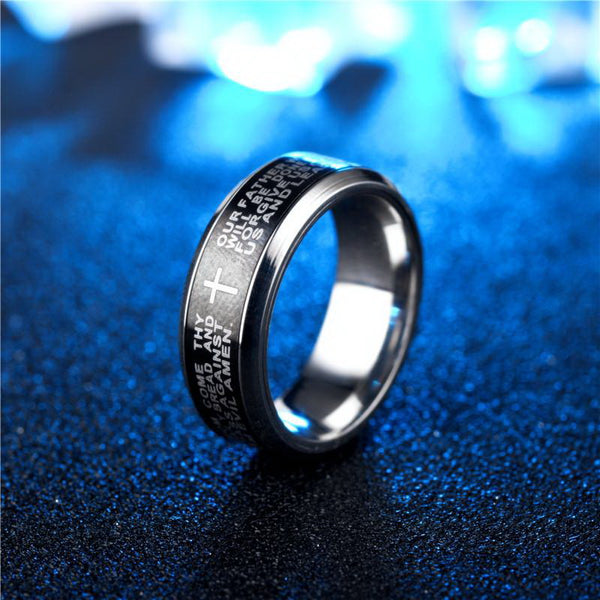 Serenity Bible Lord's Prayer Rotatable Ring