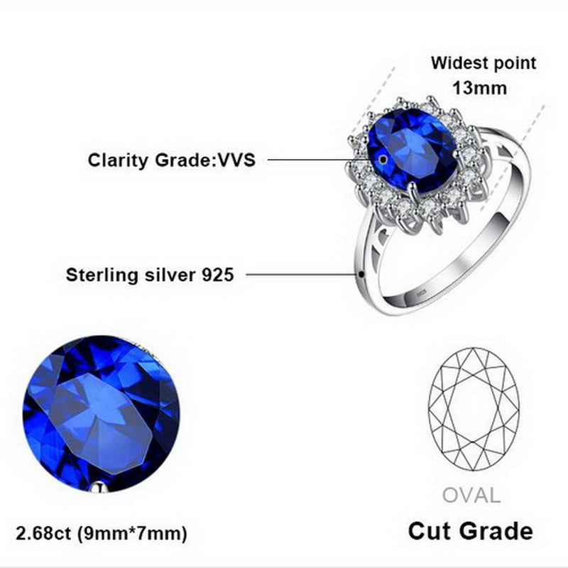 Princess Diana Inspired 3.2ct Sapphire S925 Ring