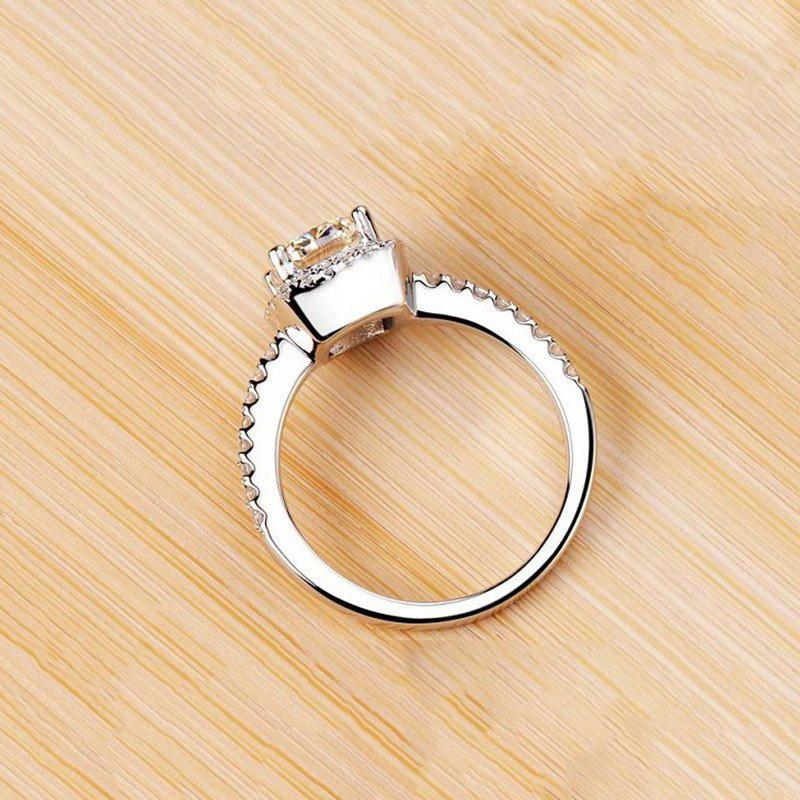 Elegant White Silver Filled Cubic Zirconia Cocktail Ring