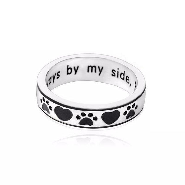 "Personalized Engraved ""Always by my side, Forever in my heart"" Dog Pawprint Wrap Ring"